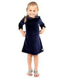 Cherry Crumble California Premium Velour Smocked Dress For Girls - Blue