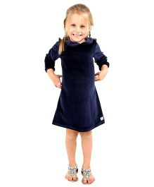 Cherry Crumble California Premium Velour Smocked Dress For Girls - Blue