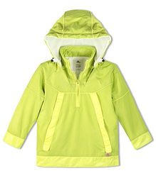 Cherry Crumble California Lightweight Windbreaker With Fleece For Boys & Girls - Green