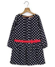 Beebay Full Sleeves Polka Dot Dress - Navy