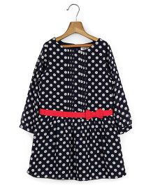 Beebay Full Sleeves Polka Dot Dress - Navy