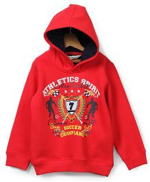 Beebay Hooded Sweatshirt Athletic Print - Red
