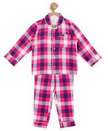 Cherry Crumble California Checkered Top & Pyjama Night Suit Set For Boys & Girls - Pink