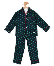 Cherry Crumble California Top & Pyjama Night Suit Set For Boys & Girls - Blue