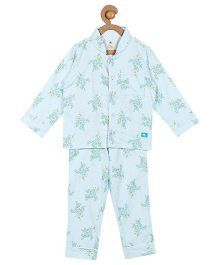 Cherry Crumble California Floral Print Top & Pyjama Night Suit Set For Boys & Girls - Blue