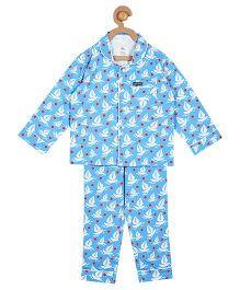 Cherry Crumble California Boat Print Top & Pyjama Night Suit Set For Boys & Girls - Blue
