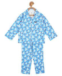 Cherry Crumble California Boat Print Top & Pyjama Night Suit Set For Boys & Girls - Blue
