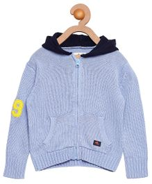 Cherry Crumble California Soft Cotton Hooded Sweater For Boys & Girls - Blue