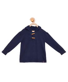 Cherry Crumble California Premium Wooden Button Sweater - Navy Blue