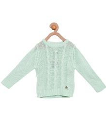 Cherry Crumble California Premium Cable Knit Sweater For Boys & Girls - Green