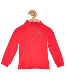 Cherry Crumble California Fine Waffle Half Zipped Sweatshirt For Boys & Girls - Red
