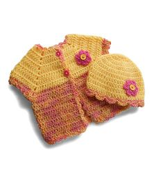 Dollops Of Sunshine Sweetpea Sweater & Hat Set - Yellow & Peach