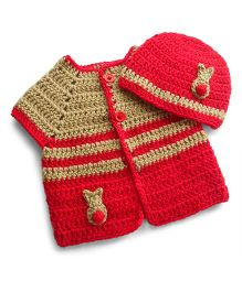 Dollops Of Sunshine Bunny Sweater & Hat Set - Biege & Red