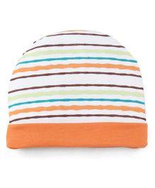 Ben Benny Stripes Round Cap - White Orange