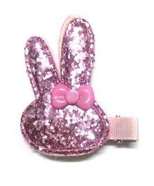 Princess Cart Glitter Rabbit Hair Clip - Baby Pink