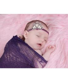 Princess Cart Rhinestone Pearl Crown Headband - Purple
