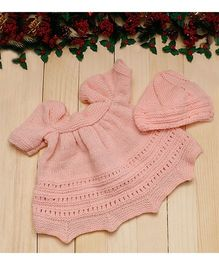 D'Chica Pretty Woollen Dress With Cap For Baby Girls - Pink