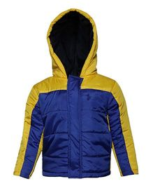 Imagica Full Sleeves Quilted Hooded Jacket - Yellow & Blue