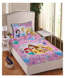 Disney Princess Anthom Trendz Printed Single Bed Sheet With Pillow Cover Set - Pink