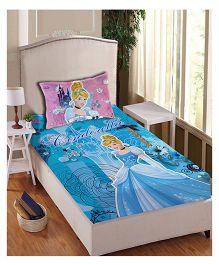 Disney Princess Athom Trendz Single Bed Sheet With Pillow Cover Set Cinderella Print - Blue PRI-04-149-S
