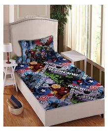 Marvel Athom Trendz Single Bed Sheet With Pillow Cover Set Avengers Print - Multi Color MAR-04-150-S