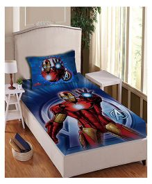 Marvel Athom Trendz Single Bed Sheet With Pillow Cover Set Iron Man Print - Blue MAR-04-153-S