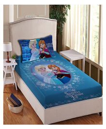Disney Frozen Athom Trendz Single Bed Sheet With Pillow Cover Set Anna Elsa - Blue
