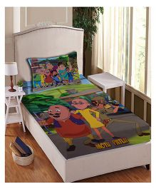 Motu Patlu Anthom Trendz Printed Single Bed Sheet With Pillow Cover Set - Multi Color MTP-04-159-S