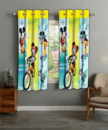 Disney Athom Trendz Window Curtain Mickey Mouse Print - Multi Color MIC-402-WC1