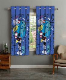 Disney Athom Trendz Window Curtain Mickey Mouse Print - Blue MIC-403-WC1