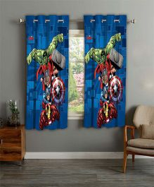 Marvel Athom Trendz Window Curtain Avengers Print - Blue