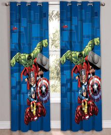 Marvel Athom Trendz Door Curtain Avengers Print - Blue MAR-408-DC1