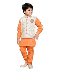 AJ Dezines Full Sleeves Kurta Polo Pant And Waistcoat With Embroidered Detail - Orange