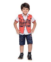 AJ Dezines Shirt Shorts And Waistcoat - Red & Blue