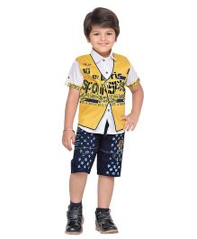 AJ Dezines Shirt Shorts And Waistcoat - Yellow & Blue