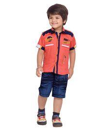 AJ Dezines Collar Neck Shirt And Shorts - Red & Blue