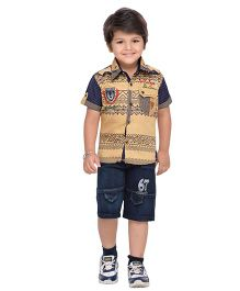 AJ Dezines Collar Neck Shirt And Shorts Print & Embroidery - Brown & Blue