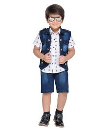 AJ Dezines Printed Shirt Shorts And Waistcoat - White & Blue