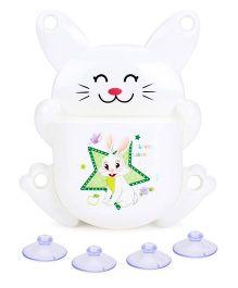 Toothbrush Holder Cat Shape And Rabbit In Star Print - White