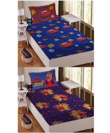 Athom Trendz Single Bed Sheet And Pillow Cover Set Pack of 2 Cars And Motu Patlu Print - Multi Color DIS-01-123-S
