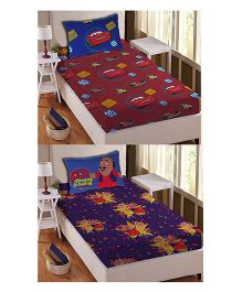 Athom Trendz Single Bed Sheet And Pillow Cover Set Pack of 2 Cars And Motu Patlu Print - Multi Color DIS-01-124-S