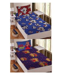 Athom Trendz Single Bed Sheet And Pillow Cover Set Pack of 2 Mickey And Motu Patlu Print - Multi Color DIS-01-125-S