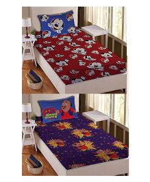 Athom Trendz Single Bed Sheet And Pillow Cover Set Pack of 2 Mickey And Motu Patlu Print - Multi Color DIS-01-126-S