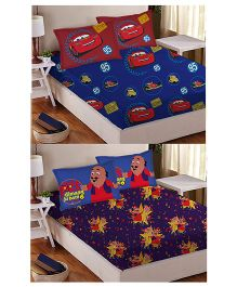 Athom Trendz Double Bed Sheet And Pillow Cover Set Pack of 2 Cars And Motu Patlu Print - Multi Color