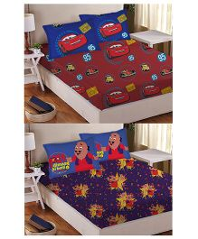 Athom Trendz Double Bed Sheet And Pillow Cover Set Pack of 2 Cars And Motu Patlu Print - Multi Color DIS-01-124-D
