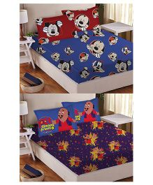 Athom Trendz Double Bed Sheet And Pillow Cover Set Pack of 2 Mickey And Motu Patlu Print - Multi Color