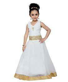 Adiva Spaghetti Strap Party Gown - White