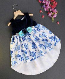 Soul Fairy Digital Print Knit Assym Hem Top - Navy Blue