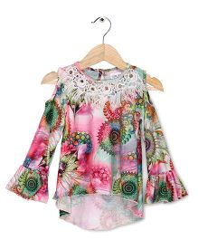 Soul Fairy Digital Print Cold Shoulder Top With Bell Sleeves - Multicolour