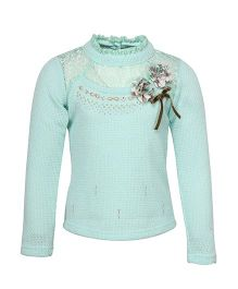Cutecumber Full Sleeves Party Wear Sweater Top Floral Appliques - Sea Green